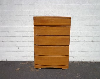 Mid Century Dresser Chest of Drawers Tallboy Art Deco Modern MCM Heywood Wakefield Storage Wood Finish Bedroom Furniture CUSTOM PAINT Avail
