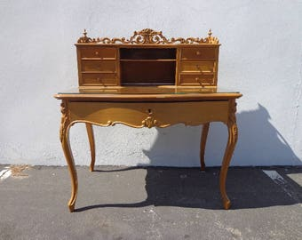 Desk Secretary Writing French Provincial Table Rococo Baroque Queen Anne Regency Vanity Shabby Chic Office Laptop Stand Storage Antique