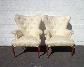 Pair of Chairs Traditional Wingback Armchairs Chair Seating Vintage Chesterfield Chippendale Lounge Mid Century Modern English Set High Back