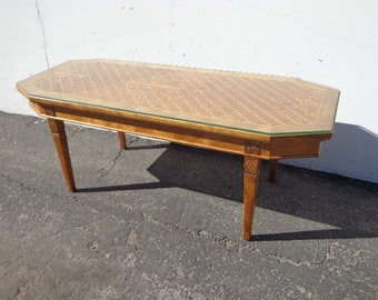 Antique Coffee Table Italian Marquetry Inlay Wood