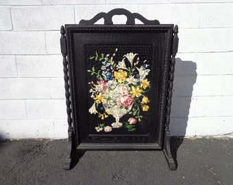 Framed Victorian Tapestry Stand Flowers Arrangement Black Decoration Painted Style Art Picture Vintage Wall Decor Woven Stitched embroidery