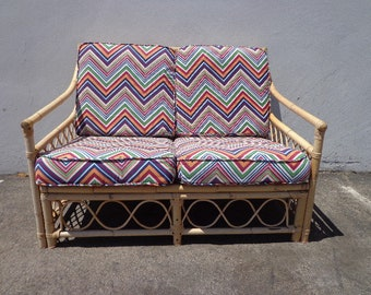 Rattan Sofa Couch Loveseat Seating Bohemian Boho Chic Peacock Coastal Cottage Vintage Seating Glam Chair Beach Decor Faux Bamboo Italy