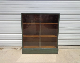 Antique China Cabinet Bookcase Display Case Buffet Server Media Console Mid Century Modern Retro Hutch Glass Doors Storage Table Vintage