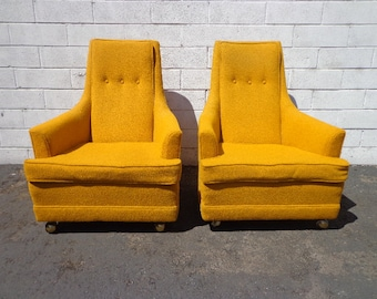 Pair of Chairs Mid Century Modern Lounge Set Armchairs Footrest MCM Hollywood Regency Vintage Seating Retro Living Room Boho Bohemian Chic