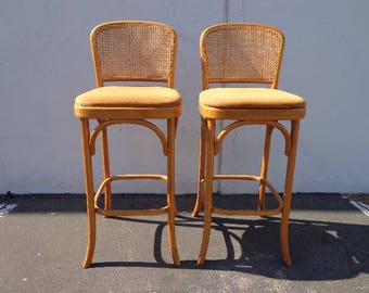 2 Bar Stools Thonet Bentwood Pair of Dining Chair Wood Cane Boho Chic Vintage Seating Mid Century Modern Vintage Furniture MCM Le Corbusier