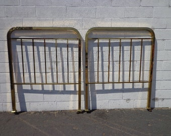 Pair of Headboards Twin Bed Single Headboard Brass Gold Furniture Bedroom Hollywood Regency Mid Century Modern Vintage Glam Boho Bohemian