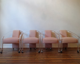 Lucite Dining Chairs Club Blush Pink Mid Centry Modern Charles Hollis Jones Hollywood Regency Vintage Furniture Designer Seating Chair
