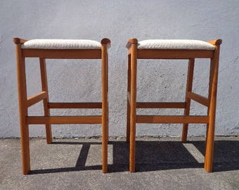 Bar Stools J. L. Moller Danish Denmark Pair of Chairs Mid Century Seating Modern Dining Modernism Teak Wood Dining Minimalist Vintage Retro