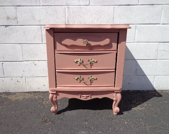 Nightstand Bedside Table French Provincial Bombe Bachelor Chest Neoclassical Bedroom Furniture Console Shabby Chic CUSTOM PAINT AVAIL