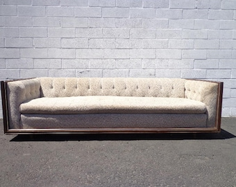 Chesterfield Sofa Couch Fabric Mid Century Modern Loveseat Rustic Lounge Seating Settee Tufted Bohemian Boho Chic Milo Baughman Style Design