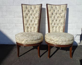 2 Chairs Fabulous Vintage Hollywood Regency High Wing Back Head of Table Custom Wingback Seating Accent Lounge Captains Seat Furniture
