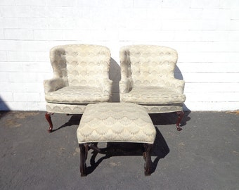 3pc Traditional Wingback Armchairs Chair Seating Vintage Chesterfield Chippendale Lounge Mid Century Modern English Wing