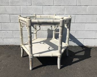 Coffee Table Cocktail Bamboo Bohemian Boho Chic Accent Side Stand Chippendale Chinese Rattan Beach Chinoiserie Regency CUSTOM PAINT AVAIL