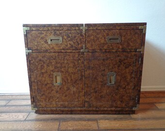 Campaign Dry Bar Chest Vintage Buffet Server Campaign Dresser Storage Henredon Chinoiserie Chippendale Brass Server Tortie Console Table