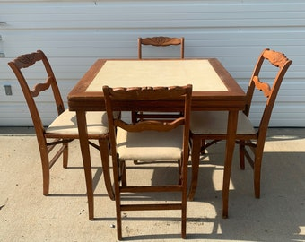 5PC Vintage Game Card Table Chairs Dining Wood Dinette Kitchen Bistro Poker Tea Bar Set Mid Century Modern Retro MCM Chinoiserie Chair Set
