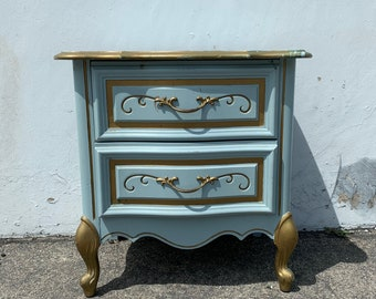 Antique Nightstand French Provincial 2 Drawer Wood Bedside Table Vintage Bedroom Storage Hollywood Regency Rococo Baroque CUSTOM PAINT AVAIL