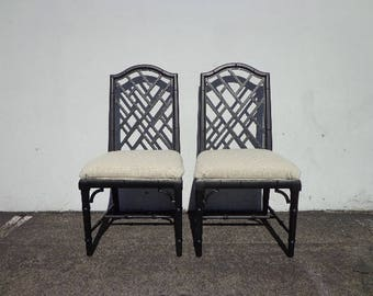 Pair of Chairs Chinese Chippendale Heritage Regency Boho Chic Set Armchairs Seating Coastal Chinoiserie Bamboo Seating Desk Mid Century