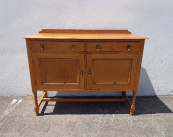 Antique Buffet Cabinet Traditional Shabby Chic Primitive Sideboard Hutch Wood TV Media Console Country Storage Table CUSTOM Paint Avail