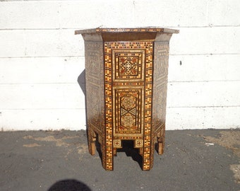 Antique Moroccan Table Lane Drum Table Stool Colorful Chinoiserie Brass Bohemian Boho Chic Regency Nightstand Chinese Chippendale Accent