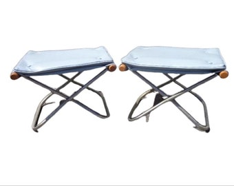 2 Takeshi Nii Japanese Stools Mid Century Modern Lounge Chair Ottoman Footrest Seating Vintage Furniture Metal Wood Midcentury Eames Era