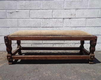 Antique Rustic Bench Leather Primitive Style Stool Ottoman Footstool Footrest Hassock MCM Seating Wood Chair Primitive Retro Boho Bohemian