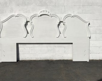 Headboard French Provincial Rococo King Size Bedroom Furniture Wood Neoclassical Shabby Chic White Hollywood Regency Glam CUSTOM PAINT AVAIL