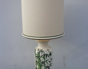 Bamboo Lamp Table Light Vintage Asian Chinoiserie Decor Vintage Mid Century Hollywood Regency Green White Palm Coastal Korean Japanese Shade