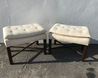Pair of Ottoman Stools Bench Bed Parsons Wood Benches Seating Ottomans Chair Hassock Footstool Chinoiserie Asian Boho Hollywood Regency Chic