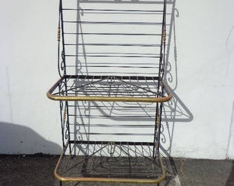 Baker's Rack Antique Kitchen Storage Vintage Shelving Unit Wrought Iron Brass Farmhouse Cottage Country French Entry Way Display Case