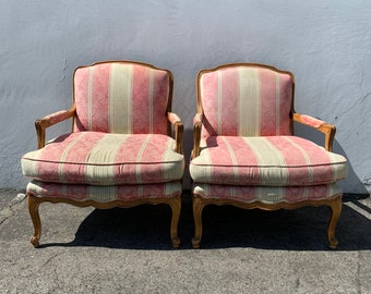 Pair of Chairs French Armchairs Sheraton French Provincial Neoclassical Wood Shabby Chic Hollywood Regency Seating Carved Wood Vintage