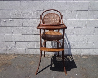 Antique High Chair Baby Seat Wood Cane Bentwood Thonet Style Rustic Primitive Farmhouse Shabby Chic Photoshoot Prop Baby Shower American