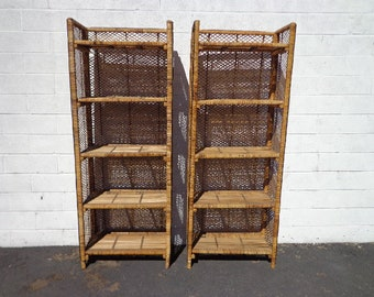 Pair of Bookcases Wicker Rattan Woven Jute Etagere Shelves Book Case Display Shelf Shelves Storage Regency Tropical Beach Rattan Bamboo