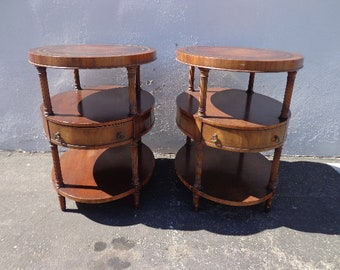 2 Antique Wood Tables Pair of Nightstands Leather Top Antique Set Bedside End Side Bedroom Accent Storage Vintage Furniture Traditional