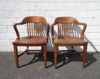 2 Antique Wood Armchairs American Chairs Seating Mid Century Modern Lounge  Seating Vintage Furniture Pair of Chairs Lawyer's Chair