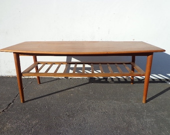 Coffee Table Mid Century Modern Danish Style 2 Tier Slat Rack Storage Living Room Wood MCM Retro TV Media Furniture MCM Storage Eames Teak