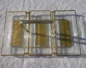 Vintage Serving Garnish Tray Glass Dish Barware Mid Century Modern Danish Decor MCM Mod Appetizer Brass Gold Green Dining Kitchen Utensil