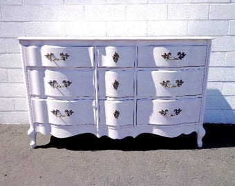 Dresser French Provincial Chest Drawers Media Console Buffet Nursery Table Bedroom Vintage Shabby Chic Boho Chic Regency CUSTOM PAINT AVAIL