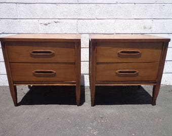 Vintage hooker furniture desk Pair Of Nightstands Hooker Furniture Bedside Tables Mid Century Modern Cabinet Credenza Storage Media Vintage Boho Chic Custom Paint Avail Etsy Hooker Furniture Etsy
