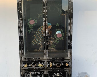 Chinoiserie China Cabinet Display Case Hutch Etagere Glass Case Unit Asian Colorful Lacquer Peacock Design Brass Hardware Kitchen Storage