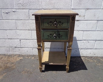 Antique Nightstand Country French Wood Bedside Table Bedroom Storage Living Room Toile Accent End Furniture Decor CUSTOM PAINT Avail