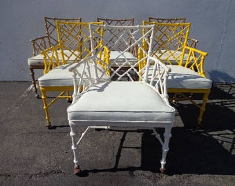 Set of Chairs Chinese Chippendale Phyllis Morris Faux Bamboo Dining Armchairs Patio Hollywood Regency Boho Chic Vintage Bohemian Peacock