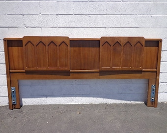 Headboard Mid Century Modern Bed King Brutalist Inspired Frame Wood Finish Bedroom Set Boho Chic Glam MCM Furniture Panel CUSTOM PAINT Avail