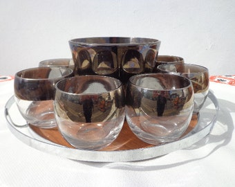 10PC Dorothy Thorpe Cocktail Set Barware Glassware Glass Collectible Mid Century Modern Drinks Bar Vintage Serving Tray Roly Poly Ice Bucket