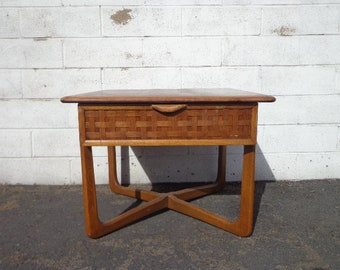 Mid Century Modern Table Lane Perception Accent End Table Storage Walnut Wood MCM Eames Living Room Midcentury Retro Mod Danish Modern