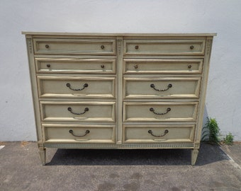 Dresser Chest of Drawers Vintage Regency Dixie Buffet Media Console Changing Table Bureau Mid Century French Provincial CUSTOM PAINT AVAIL