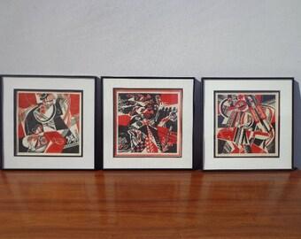 Set of 3 Framed Mid Century Art Lithograph Prints Midcentury Mod MCM Wall Art Decor Ukrainian Folk Painting