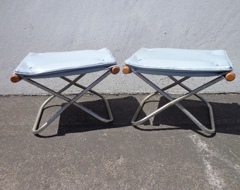 2 Takeshi Nii Japanese Stools Mid Century Modern Lounge Chair Ottoman Footrest Seating Vintage Furniture Metal Wood Midcentury Eames Era