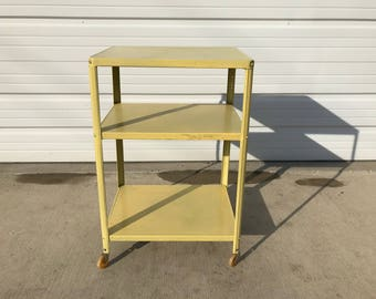 Bar Cart Yellow Vintage Industrial Mid Century Tea Cosco MCM Utility Console Wine Rack Server Brass Mad Men Regency Glam Casters Console