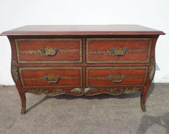 Antique French Country Dresser Bombe Chest Nightstand Table Rococo Baroque Tooled Embossed Glam Heritage Furniture Bedside Bedroom Storage
