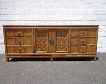 Dresser Vintage Thomasville Tamerlane Furniture Asian Chinoiserie Cabinet Chest Console Table Chinese Campaign Boho Chic CUSTOM PAINT AVAIL
